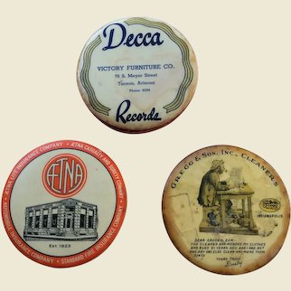 Pocket Mirrors And Record Cleaner Advertising Promotionals