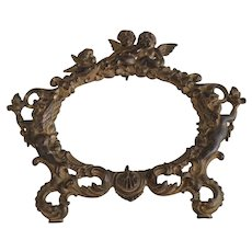 Gold Gilded Bronze Oval Picture or Mirror Frame