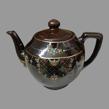 Sweet mid-century hand-painted earthen teapot