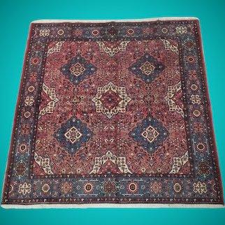 7 x 7 Lilihan Red Salmon Rose Square Persian Handmade Original Rug