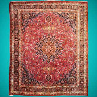 10 x 13 Traditional Radiant Medallion Original Red Persian Handmade Rug