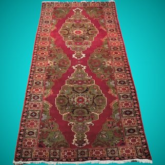 4' x 10' Raspberry Floral Red Hamadan Persian Wool Handmade Rug