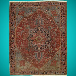9x12 Red Heriz Persian Hand-knotted Over 120 years Old Antique Worn Wool Rug