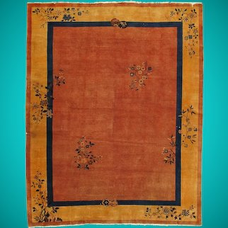9 x 12 Rust Vintage Old Original Red Art Deco Wool Hand-knotted Area Rug