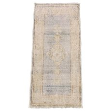 Old Small Marvelous Handmade Rug 2' x 4' Neutral Worn out pile Rug