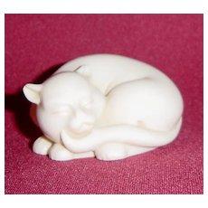 Netsuke Curio Cabinet Cat by Franklin Mint