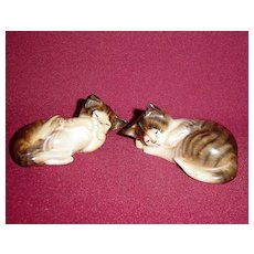 Royal Doulton Pair of Sleeping Brown and White Tabby Cats - Red Tag Sale Item