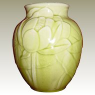 Rookwood Light Green Water Lily and Lily Pad Vase 6833 circa 1948
