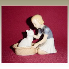 Bing and Grondahl Girl with Cat in a Basket 2249