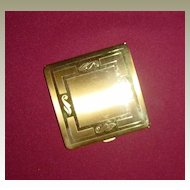 Pretty Goldtone Brass Powder Compact with Stylized Leaf Design