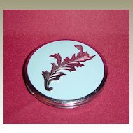 Pretty Silvertone and Baby Blue Enamel Powder Compact