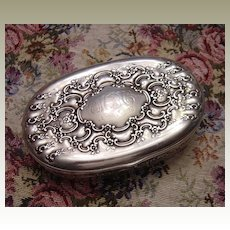 Antique Tiffany & Co Sterling Silver Repousse Oval Dresser Box c. 1899