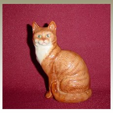 Beswick Dark Ginger Cat Seated with Head Looking Forward, Model No. 1031