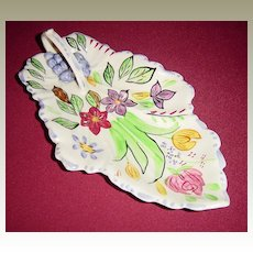 Blue Ridge Southern Potteries Summertime Leaf Celery Dish