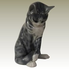 Royal Copenhagen Grey Tabby Cat Model 340
