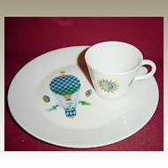 Georges Briard Porcelain Fancy Free Snack Set with Woman in Blue