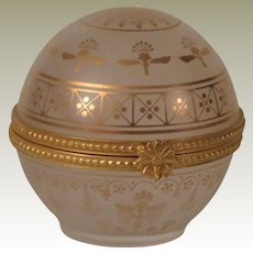 Estee Lauder Frosted Glass and Gold Round Keepsake Perfume Trinket Box