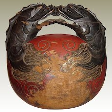 Antique Japanese Buddhist Wooden Mokugyo Temple Drum