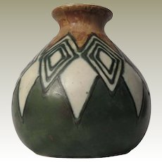 Quimper Odetta Art Deco Stoneware Pottery Vase