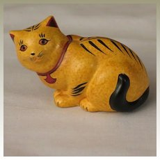 Franklin Mint Chalkware Curio Cabinet Cat