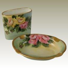 Czechoslovakia Porcelain Union Hand Painted Ashtray and Match Holder