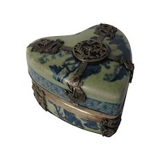 19th Century Chinese Porcelain and Silver Heart Shaped Trinket Box