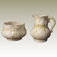 Belleek Ribbon Creamer and Sugar in Yellow Lustre