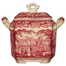 Mason's Pink (Red) Vista Square Sugar Bowl