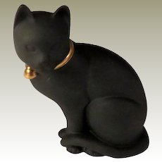 Franklin Mint Black Basalt Curio Cabinet Cat