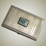 Pretty Presto Silverplate and Enamel Small Card Case