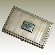 Pretty Presto Silverplate and Enamel Small Card Case