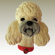 Bossons White Poodle Wall Head Plaque