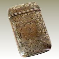Sterling Silver Match Safe with Floral Motif