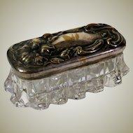 Art Nouveau Silverplate Repousse and Glass Dresser Box