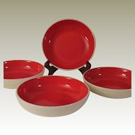 Holt Howard Red Rooster Tomato Red Cereal Bowls