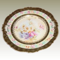 RS Prussia Antique Floral Cake Plate