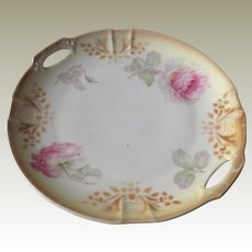 German Lustre Cake Plate with Roses