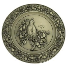 Hallmark Little Gallery Pewter Partridge in a Pear Tree 1977 Christmas Plate