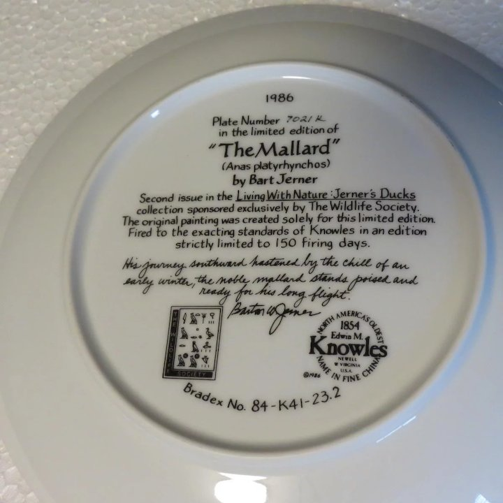 The Mallard Collector Plate by Bart Jerner & The Mallard Collector Plate by Bart Jerner : Alley Cat Lane Antiques ...