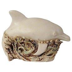 Harmony Kingdom Large Treasure Jest Dolphin Box Figurine On A Roll