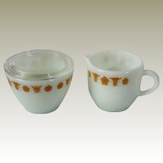 Corning Pyrex Butterfly Gold Mini Creamer and Lidded Sugar Bowl