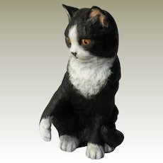 "Franklin Porcelain Eric Tenney ""Temptation"" Black and White Cat Figurine"