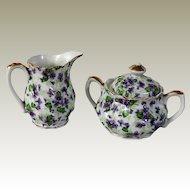 Lefton China Violet Chintz Sugar and Creamer Set