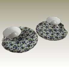 Lefton China Violet Chintz Snack Sets