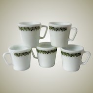 Pyrex Crazy Daisy Coffee Mugs - set of 5