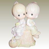 Precious Moment Jonathan & David Porcelain Figurine Love One Another E-1376