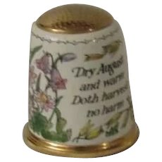Halcyon Days Enamel Thimble Thomas Tusser Good Husbandry