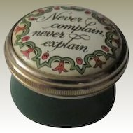 Halcyon Days Mini Enamel Box Never Complain