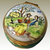 Halcyon Days Enamel Box Spring from a Joyce Hubbard Painting