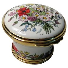 Halcyon Days Faust Opera Flowers Basket Shaped Enamel Box